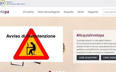 MePA: interruzione attività del portale Acquisti in rete PA.