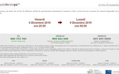 """Nuovo """"Stop"""" AcquistinretePA: sito in manutenzione."""
